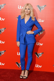 Pixie Lott opted for a fitted electric-blue pantsuit by La Perla when she attended the 'Voice Kids' photocall.