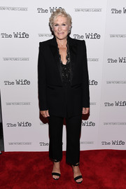 Glenn Close paired her suit with black ankle-strap sandals.