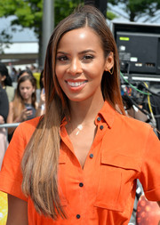 Rochelle Humes left her long straight hair loose when she attended the 'X Factor' London auditions.