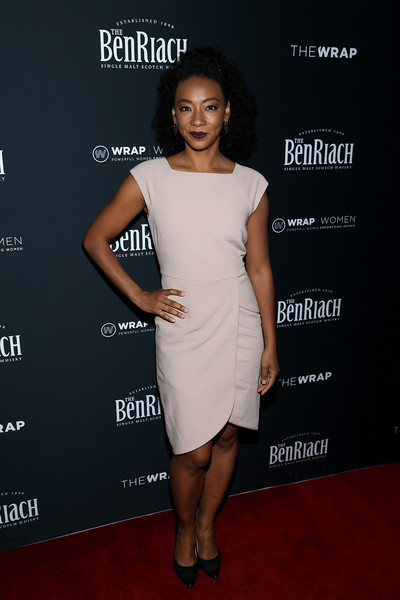 Betty Gabriel kept it simple in a pale-pink dress with a crossover skirt at TheWrap's 2018 Women, Whiskey and Wisdom Celebrating Oscar Nominees.