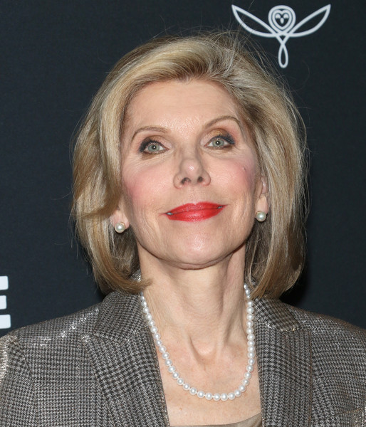 Christine Baranski accessorized with classic pearl studs.
