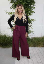 Laverne Cox attended the 'Who Do You Think You Are?' FYC event wearing a simple black tunic.