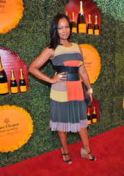 Garcelle's pleated color-block day dress was the perfect choice for the Polo Classic.