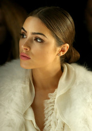 Olivia Culpo showed off a flawlessly styled chignon at the Thomas Wylde fashion show.