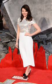 Ophelia Lovibond looked ultra modern in a white Burberry Prorsum dress with a studded bodice during the 'Thor: The Dark World' premiere in London.