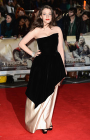 Kat Dennings was a vision in a strapless black and nude Lanvin gown with a tiered skirt during the 'Thor: The Dark World' premiere in London.