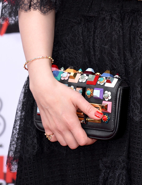 More Pics of Hayley Atwell Studded Clutch (1 of 15) - Clutches Lookbook - StyleBistro [nail,pink,arm,fashion,hand,dress,bracelet,street fashion,design,wrist,red carpet arrivals,hayley atwell,empire awards,awards,bag detail,london,england,the roundhouse,three empire]