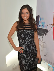 Danica McKellar showed off her fit figure with this black-and-gray watercolor-print dress.