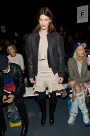 Hanneli Mustaparta sported a tough silhouette in a bulky black leather jacket during the Tibi fashion show.
