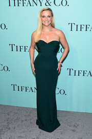 Reese Witherspoon cut an hourglass silhouette in this strapless green column dress by Brandon Maxwell at the Tiffany & Co. Blue Book Collection Gala.