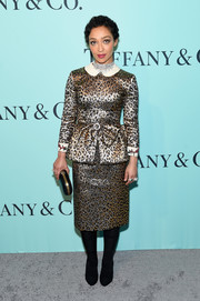Ruth Negga was a standout in a metallic leopard peplum dress by Gucci at the Tiffany & Co. Blue Book Collection Gala.