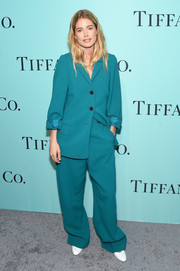 Doutzen Kroes took a risk with this baggy teal pantsuit by Celine when she attended the Tiffany & Co. Blue Book Collection Gala.