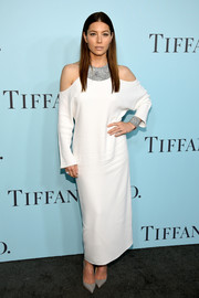Jessica Biel jumped in on the cold-shoulder bandwagon with this white evening dress by The Row for the Tiffany & Co. Blue Book Gala.