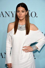 Jessica Biel made jaws drop with that Tiffany & Co. diamond bracelet and necklace set during the jeweller's Blue Book Gala.