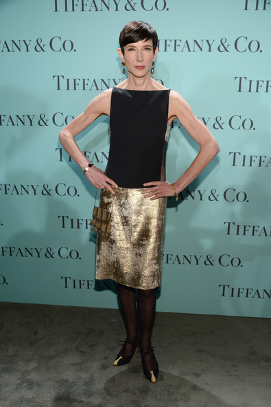 Amy Fine Collins chose a cool color-blocked twenties-inspired frock for her chic look at the Blue Book Ball.