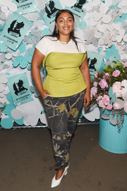 Paloma Elsesser sealed off her outfit with a pair of foliage-print pants.