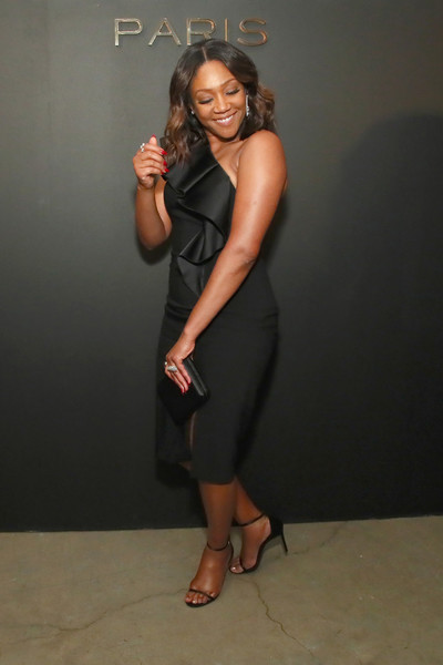 Tiffany Haddish One Shoulder Dress [messika party,nyc fashion week spring,gigi hadid new collection,milk studios,clothing,shoulder,dress,little black dress,leg,joint,thigh,fashion,photo shoot,cocktail dress,new york city,the messika,tiffany haddish]