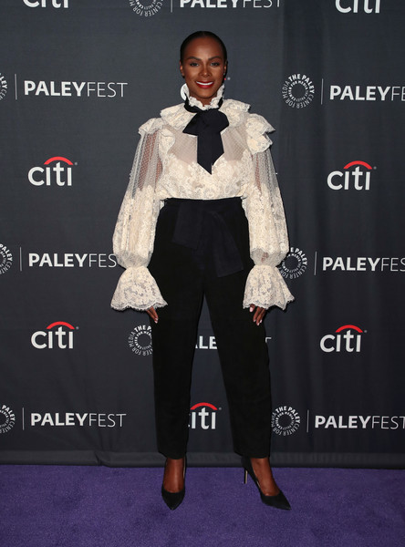 Tika Sumpter High-Waisted Pants [paleyfest fall tv previews,tv previews,suit,white,clothing,formal wear,tuxedo,red carpet,carpet,fashion,bow tie,footwear,arrivals,tika sumpter,beverly hills,california,the paley center for media,paley center for media,abc]