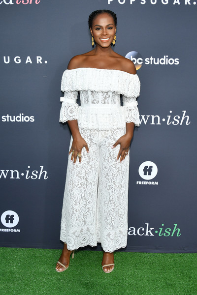 Tika Sumpter Jumpsuit [clothing,shoulder,fashion,dress,joint,carpet,red carpet,fashion design,premiere,flooring,arrivals,tika sumpter,embrace your ish,red carpet,fashion,celebrity,clothing,popsugar x,abc,event,tika sumpter,sonic the hedgehog,layla williamson,united states,red carpet,celebrity]