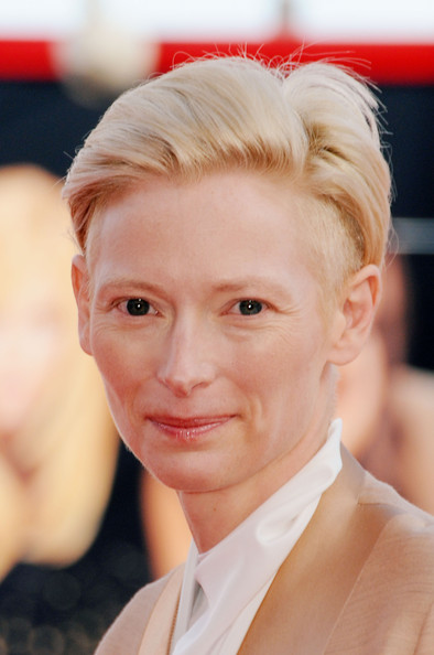 Tilda Swinton Fauxhawk [hair,face,blond,forehead,hairstyle,eyebrow,chin,head,skin,nose,tilda swinton,sala grande,venice,italy,south of the border,red carpet,venice film festival,premiere,66th venice film festival]