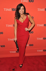 Rachael Ray looks elegant in a red low-cut evening gown at the Time 100 Most Influential gala.