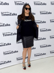Salma Hayek kept it casual in a 'Prince' sweater by Bella Freud while attending TimesTalks: The Allegory of 'Beatriz at Dinner.'