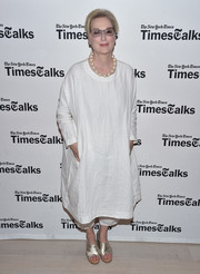 Meryl Streep kept it super relaxed in a loose white dress and matching capris while attending TimesTalks.