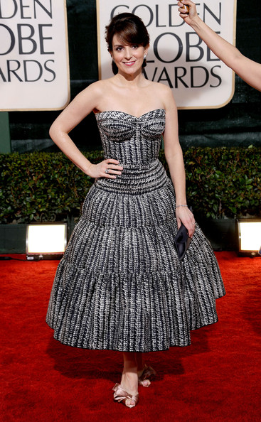 Tina Fey Strapless Dress [flooring,carpet,dress,red carpet,gown,cocktail dress,fashion,fashion model,haute couture,girl,arrivals,tina fey,beverly hills,california,the beverly hilton hotel,golden globe awards]