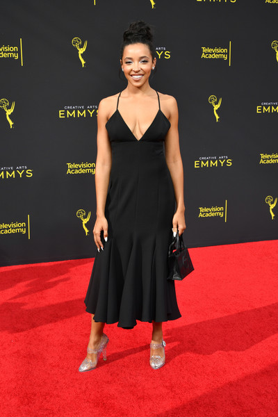 Tinashe Little Black Dress [red carpet,carpet,clothing,dress,flooring,fashion,little black dress,premiere,hairstyle,cocktail dress,arrivals,tinashe,creative arts emmy awards,los angeles,california]