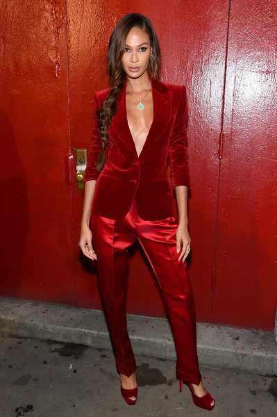 More Pics of Joan Smalls Pantsuit (1 of 5) - Suits Lookbook - StyleBistro [clothing,red,maroon,fashion model,photo shoot,outerwear,leg,pantsuit,photography,formal wear,arrivals,tom ford - arrivals,tom ford,joan smalls,new york city,new york fashion week]