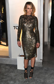 Amber sparkled in a form fitting cocktail dress at the Tom Ford flagship launch in Beverly Hills.