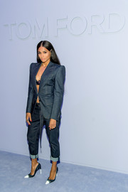 Ciara complemented her suit with a pair of blue cap-toe pumps, also by Tom Ford.