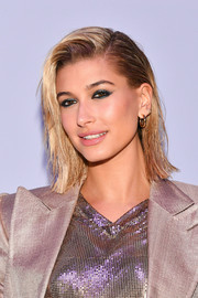 Hailey Baldwin went for classic styling with a pair of gold hoops.