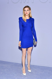 Nicola Peltz looked simply chic in a long-sleeve electric-blue mini dress by Tom Ford during the label's Fall 2018 show.