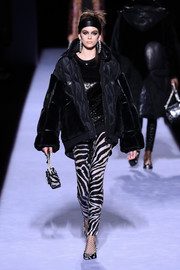 A pair of zebra-patterned sequin leggings added some wild appeal.