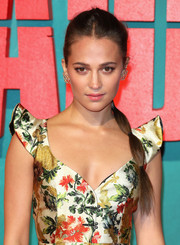 Alicia Vikander styled her hair into a segmented ponytail for the European premiere of 'Tomb Raider.'