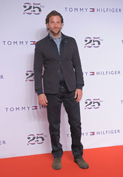 Bradley completed his look with a charcoal gray blazer.