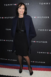 Kristin wore an elegant leather belt over her little black dress at the Tommy Hilfiger Flagship Opening.