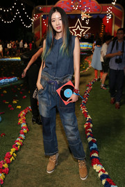 Irene Kim wore patchwork jeans in a head-to-toe denim look.