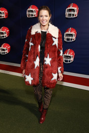 Helena Bordon attended the Tommy Hilfiger fashion show rocking the brand's star-print fur coat.
