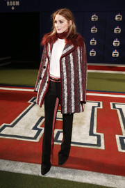 Olivia Palermo teamed her coat with a pair of not-so-basic pink-striped slacks, also by Tommy Hilfiger.