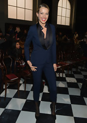 Petra Nemcova was classy and sophisticated in a navy pantsuit at the Fall 2013 Tommy Hilfiger runway show.