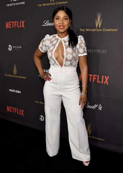 Toni Braxton Jumpsuit [white,clothing,fashion,suit,pantsuit,fashion model,formal wear,fashion design,premiere,event,laura mercier,toni braxton,marie claire,lindt chocolate,deleon tequila,the beverly hilton hotel,weinstein company,netflix golden globe party,hearts on fire,red carpet]