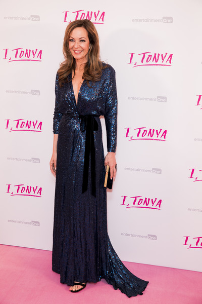 Allison Janney looked ultra sophisticated in a blue sequin wrap gown by Jenny Packham at the UK premiere of 'I, Tonya.'
