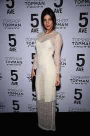 Julia Restoin-Roitfeld chose a white mesh-overlay gown for the Topman New York City flagship opening dinner.