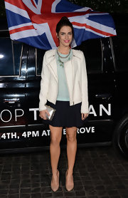 Jessica Lowndes' mini skirt was modern and youthful when paired with a light blue blouse and white jacket.