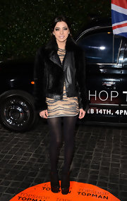 Gina Mantegna's fur coat had a bit of a rocker edge with leather trim at the Topshop Topman LA opening.