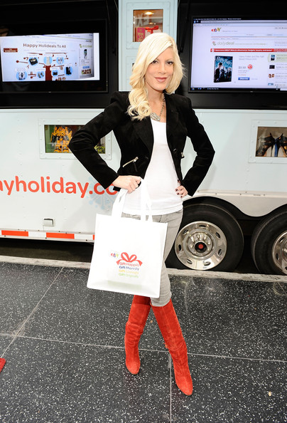 Tori Spelling Knee High Boots [tori spelling,holiday gifts,white,clothing,red,footwear,lady,fashion,street fashion,leg,knee,high heels,ebay mobile boutique,hollywood,los angeles,shops,california,highland]