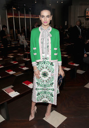 Camilla Belle looked totally charming in a Tory Burch embroidered skirt and a matching pussybow blouse while attending the brand's fashion show.
