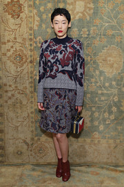 Sayo Akasaka wore a floral-patterened sweater for the Tory Burch fashion show.